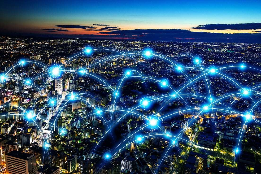 LoRaWAN IoT network cityscape
